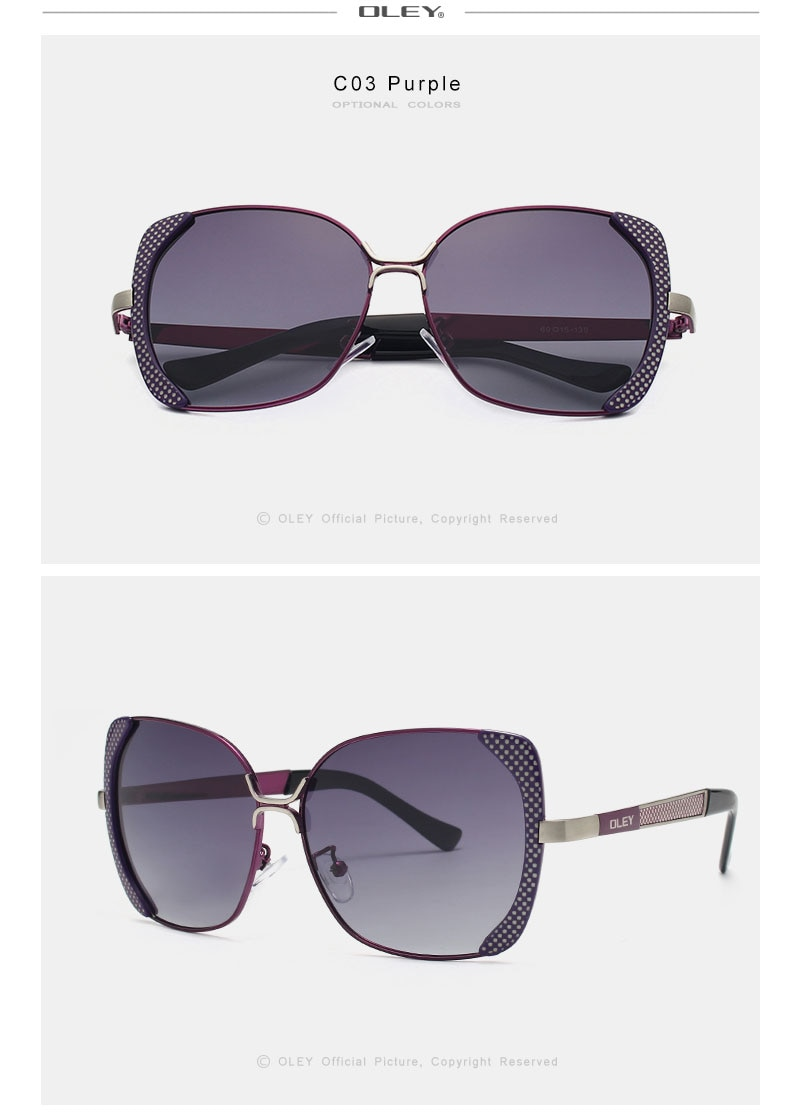 OLEY Classic Brand Fashion Large Frame Women's Polarized Sunglasses Butterfly Retro UV Protection Goggles Y5190