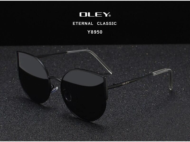 OLEY Fashion Cat Eye Sunglasses Women Brand Designer Vintage Retro Sun glasses Female Fashion Cateyes Sunglass UV400 Y8950