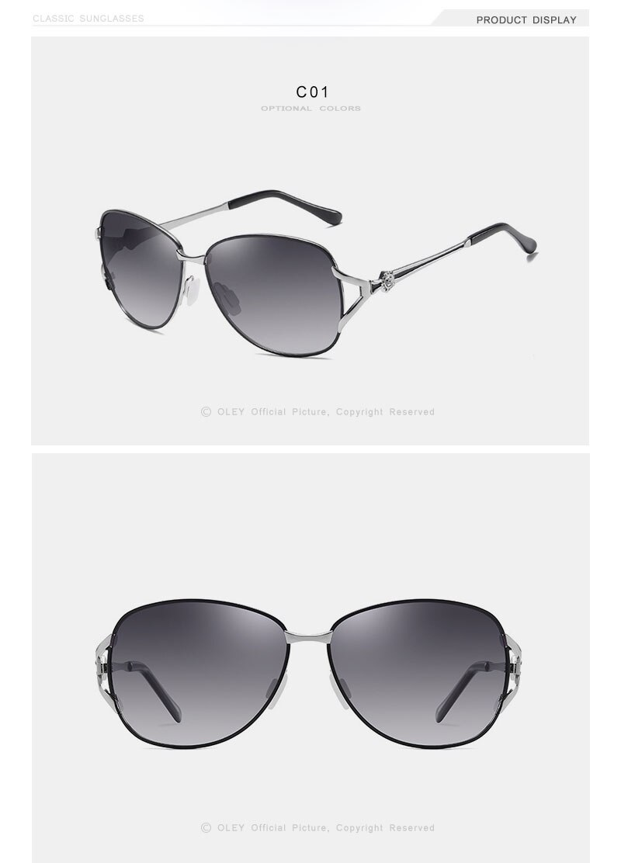 OLEY 2020 New Women's Glasses Luxury Brand Sunglasses Gradient Polarized Lens Round Sun glasses Butterfly Oculos Feminino YA509