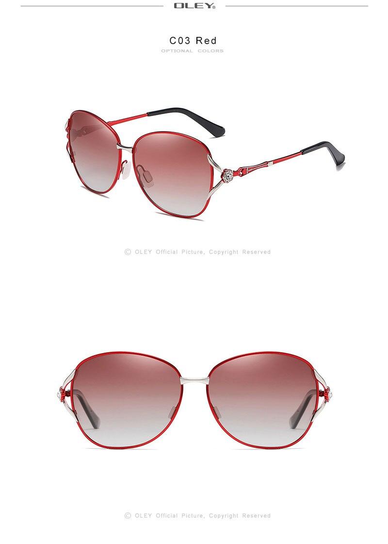 OLEY Fashion Womens Polarized Sunglasses Women Butterfly Diamond Classic Sun Glasses HD lens UV400 goggles