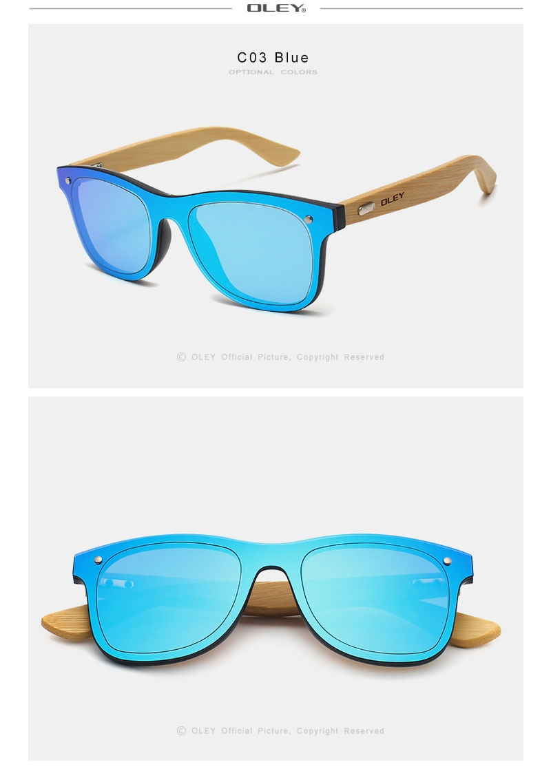 OLEY Brand Bamboo Leg Color Film Sunglasses Men Classic Square Overall Flat Lens Fashion Retro Women sun glasses Z0470