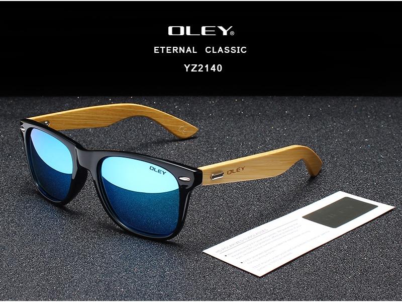 OLEY Brand Bamboo Leg Polarized Sunglasses men Classic Square goggle Fashion Retro Female sun glasses Customizable logo YZ2140