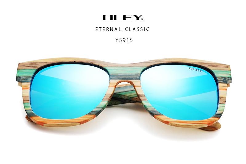OLEY 2020 Bamboo Sunglasses Men Women Polarized Mirror Full Frame Wood Shades Goggles Handmade Support custom logo Y5915