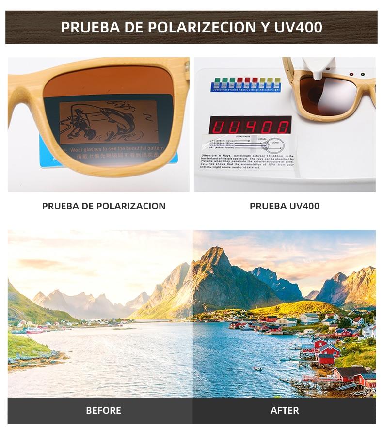 EZREAL Brand Design Handmade Natural Wooden Bamboo Sunglasses Luxury Sunglasses Polarized Wooden Oculos de sol masculino