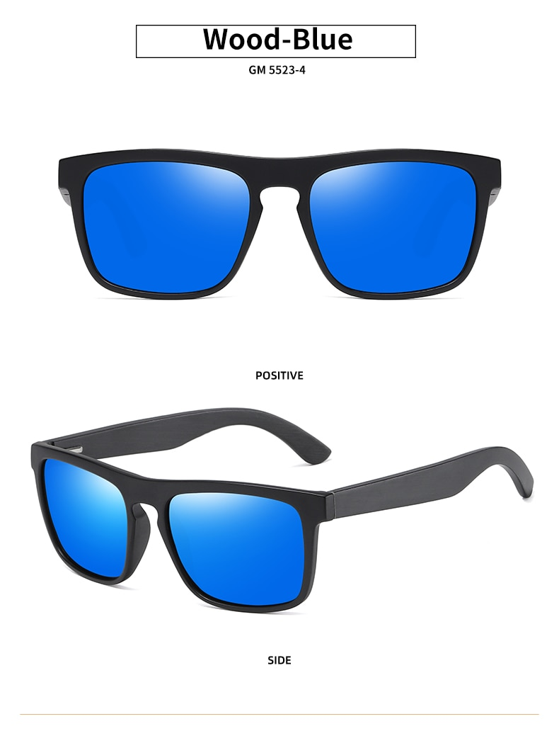 EZREAL New Arrivals Black Wooden Polarized Sunglasses for Men Bamboo Sunglasses Red UV400 Lenses Fashion Driving Shades S5523