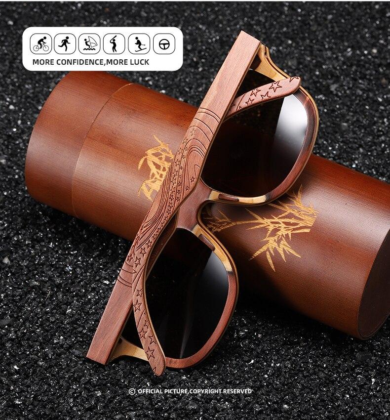 EZREAL Wood Women Sunglasses Men Grade Brand Carved Design Brown Bamboo Frame Polarized Sunglasses Skateboard Wood Eyeglasses