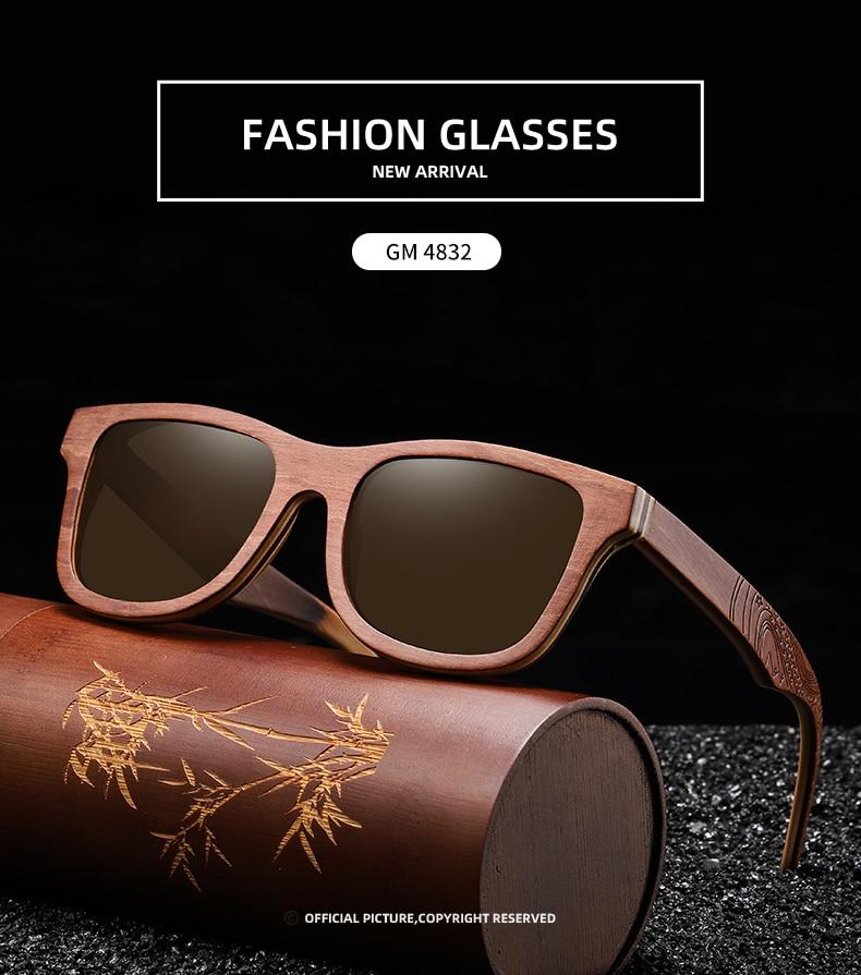 EZREAL Retro Brown Skateboard Wood Sunglasses Men Bamboo Sunglass Women Brand Mirror UV400 Square Sun Glasses Shades Glasses