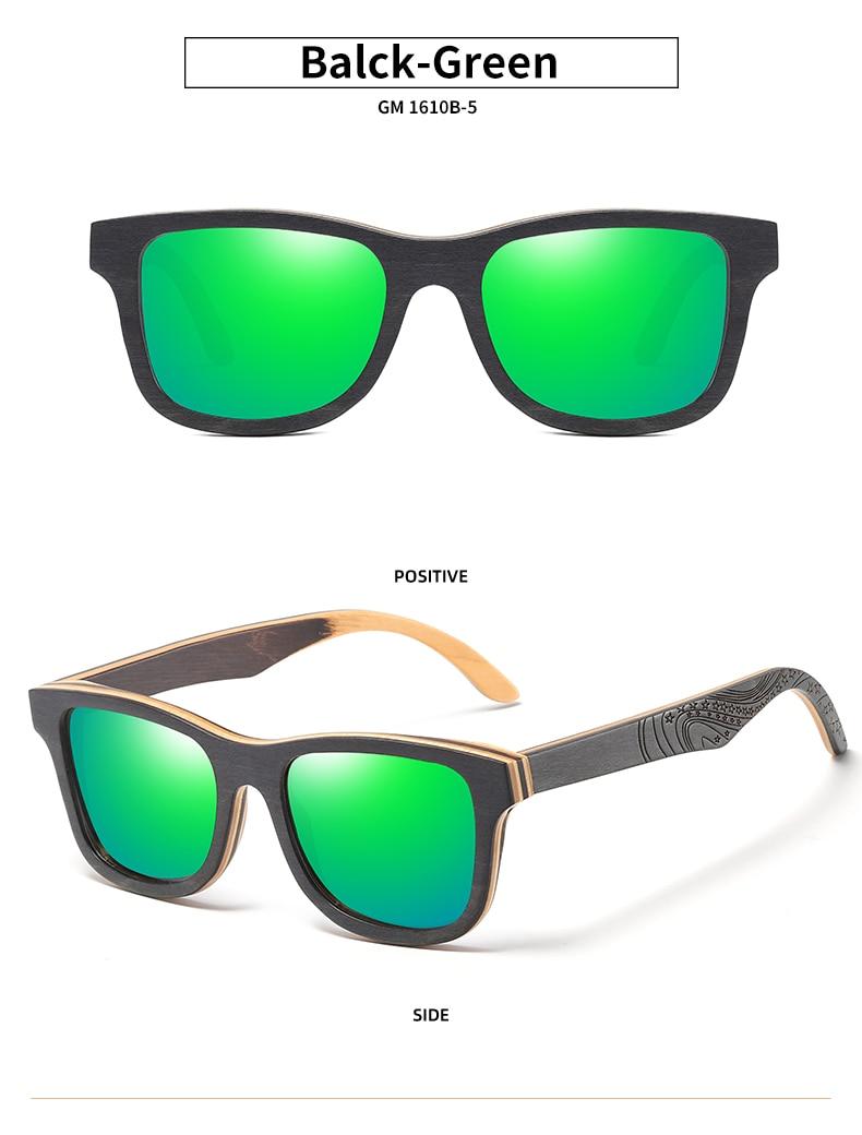 EZREAL Polarized Sunglasses Women Men Layered Skateboard Wooden Frame Square Style Glasses for Ladies Eyewear In Wood Box S5832