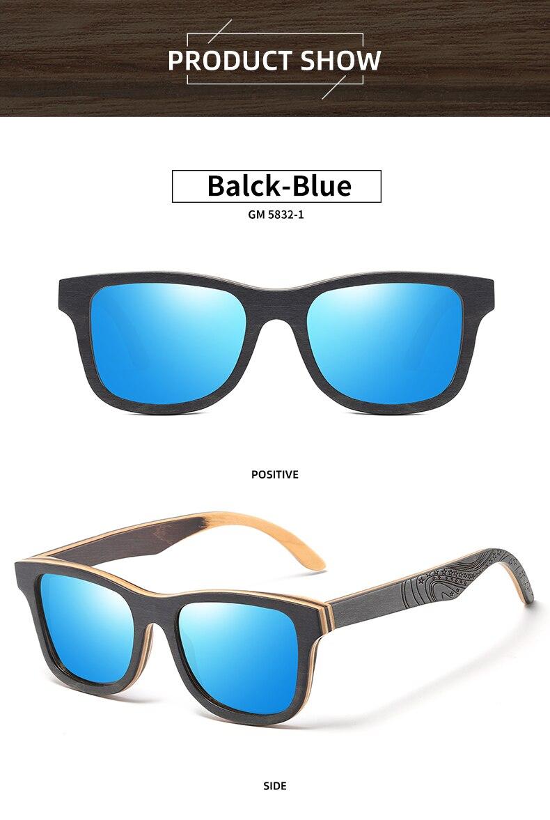 EZREAL Luxury Skateboard Wood Sunglasses Vintage Black Frame Wooden Sunglasses Women Polarized Men's Bamboo Wood Sunglasses