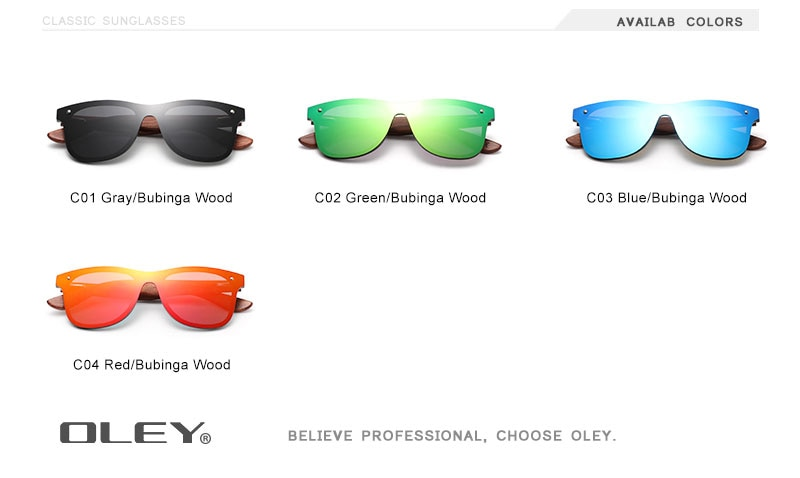 OLEY Natural Wooden Sunglasses Men Polarized Fashion Sun Glasses Original Wood High-end wooden box Accept custom logo