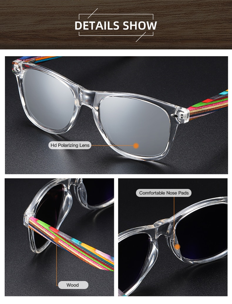 EZREAL Polarized PC Frame With Wooden Legs Sunglasses for Men or Women Color Wooden Temples