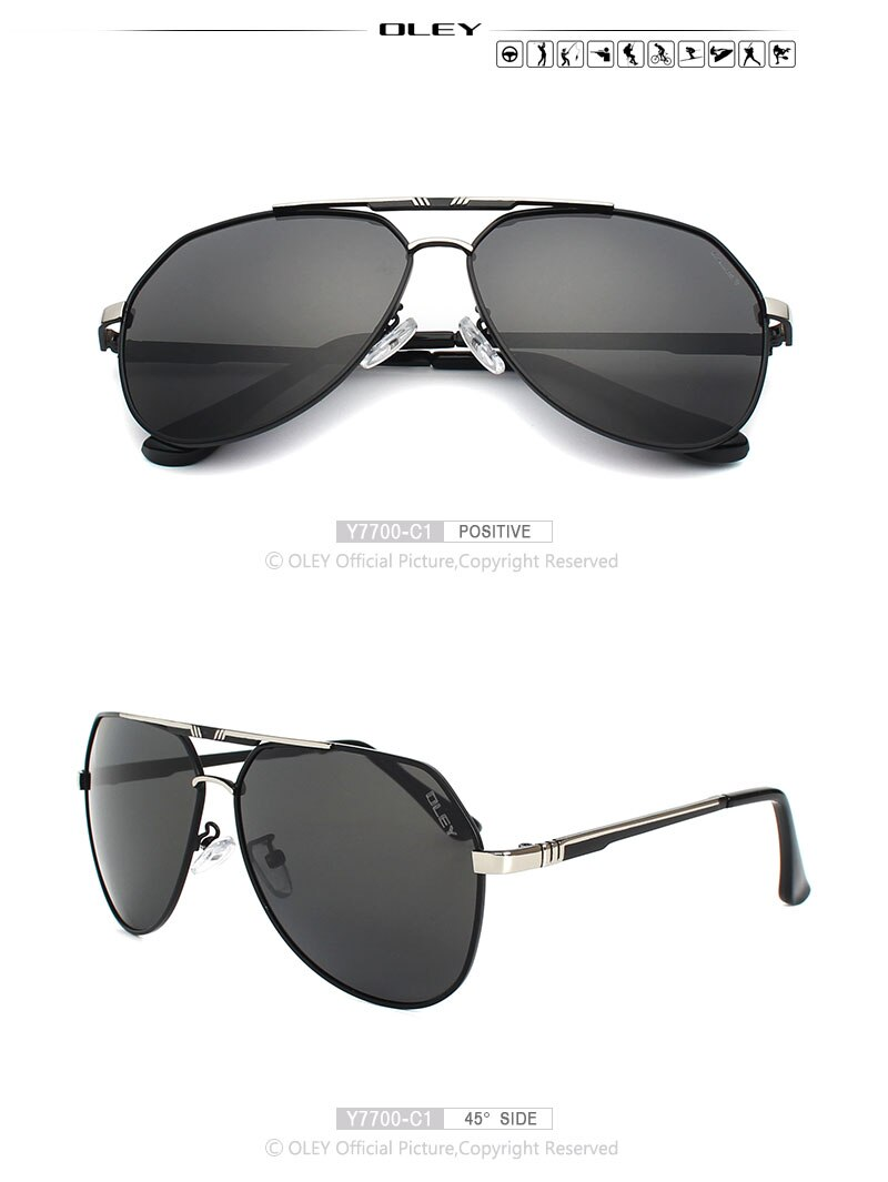 OLEY 100% Polarized sunglasses lenses Alloy frames color film pilots Mirror Glasses oculos Male Eyewear Accessories For Men