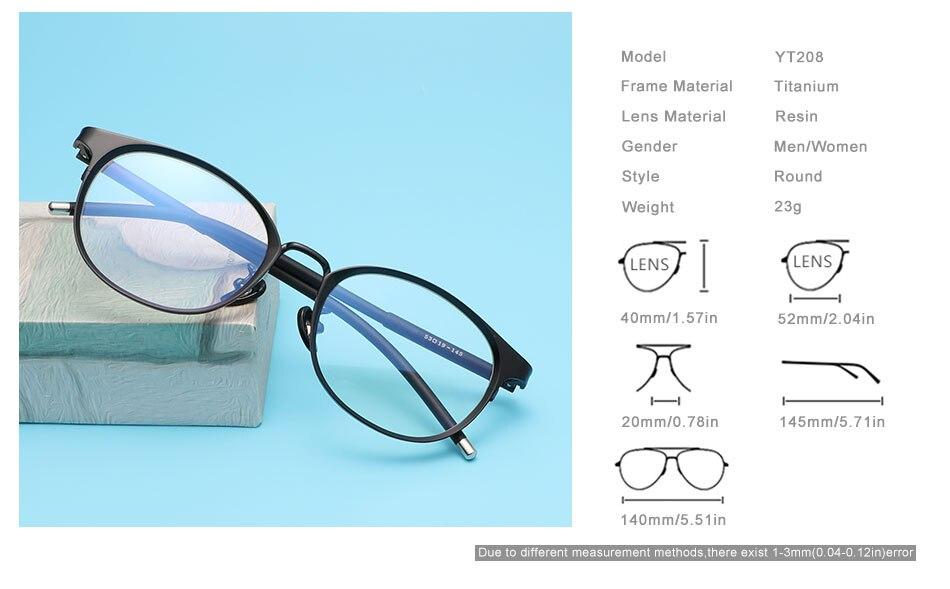 OLEY Titanium Optical Glasses Frame Men Ultralight Round Myopia Prescription Eyeglasses Male Prescription glasses YT208