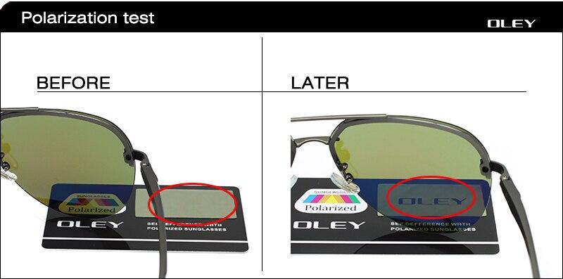 OLEY Aluminum Magnesium Polarized Sunglasses Men Driver Mirror Sun glasses Male Fishing Female Eyewear For Men YA143