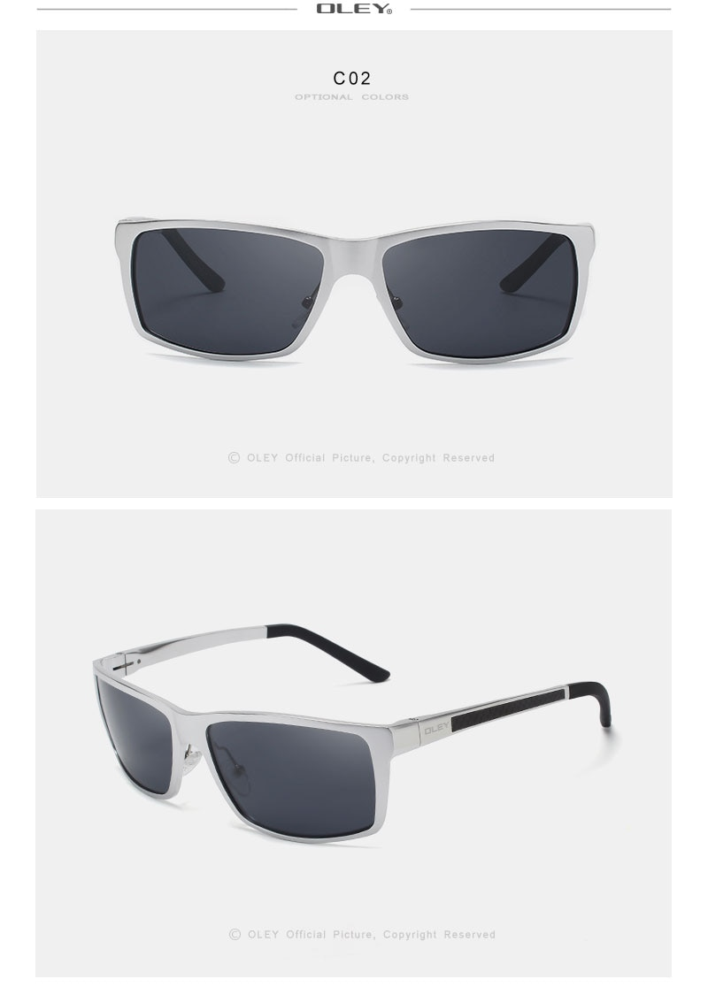 OLEY Men Polarized Sunglasses Aluminum Magnesium Sun Glasses Driving Glasses Rectangle Shades For Men Oculos masculino Male