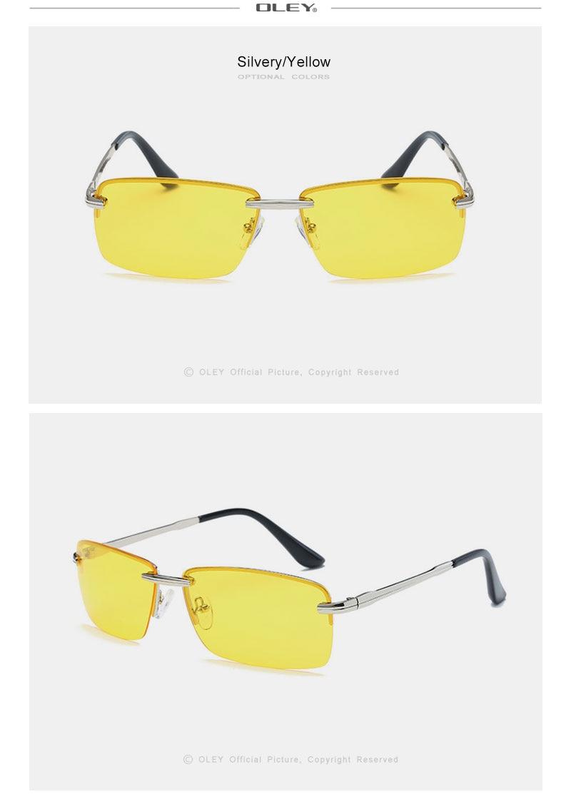 OLEY Brands Men's Rectangular Frameless Polarized Sunglasses UV400 Mirror Male Sun Glasses Women For Men Oculos de sol