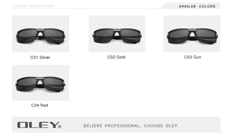 OLEY Fashion Men's Frameless Polarized Sunglasses Classic Pilot Goggles UV400 Gafas De Sol Y4909 Support custom LOGO