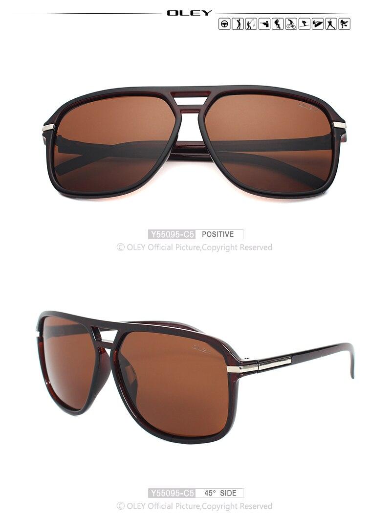 OLEY Vintage oversized Sunglasses Men brand designer women Polarized Sun Glasses for man shades large spectacles culos de sol