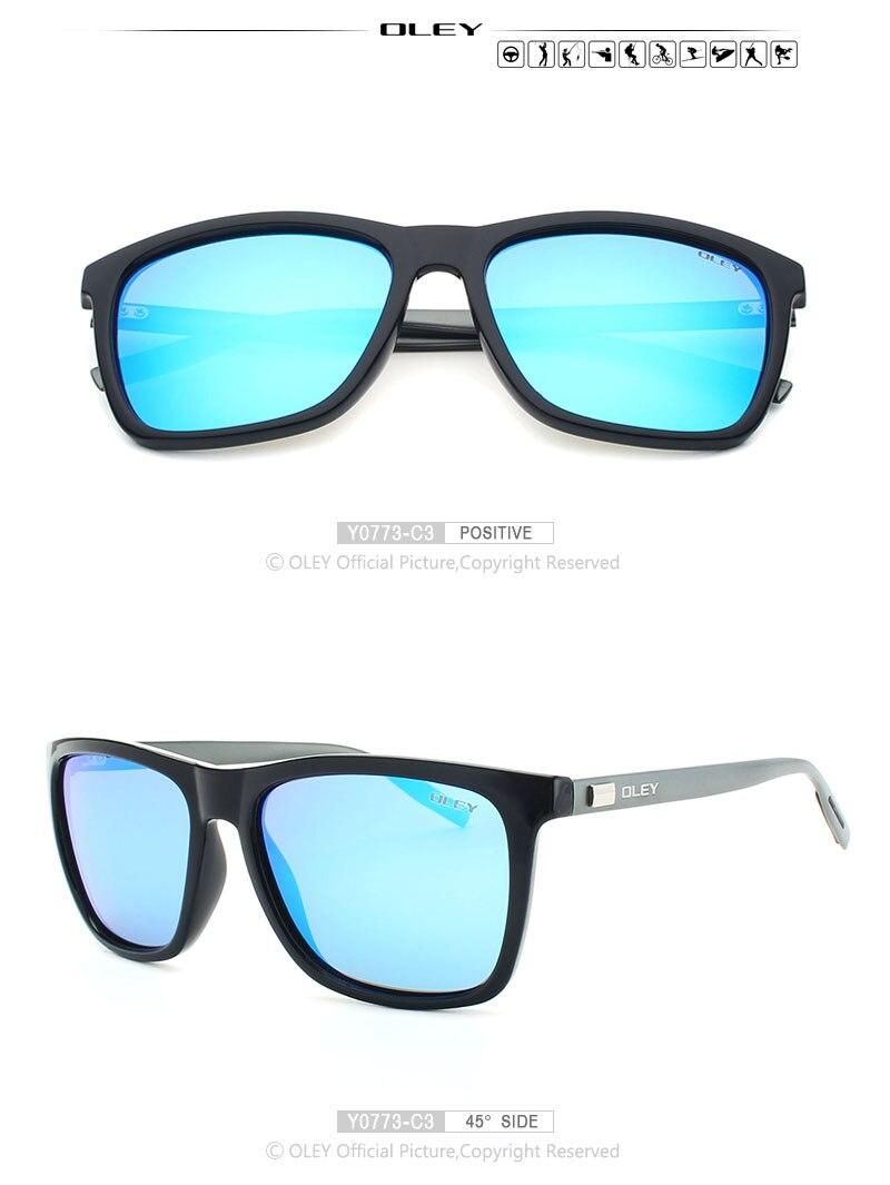 OLEY Aluminum magnesium +R90 fashion sunglasses men women polarized square sun glasses Driving Goggles zonnebril dames