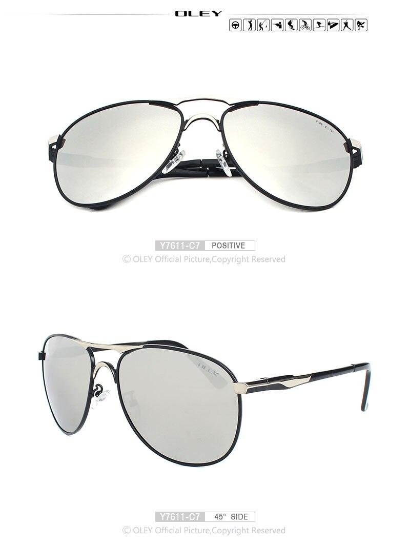 OLEY Luxury brand mens driving Sunglasses polarized women pilot Sun glasses blue coating eyewear dos homens Y7611