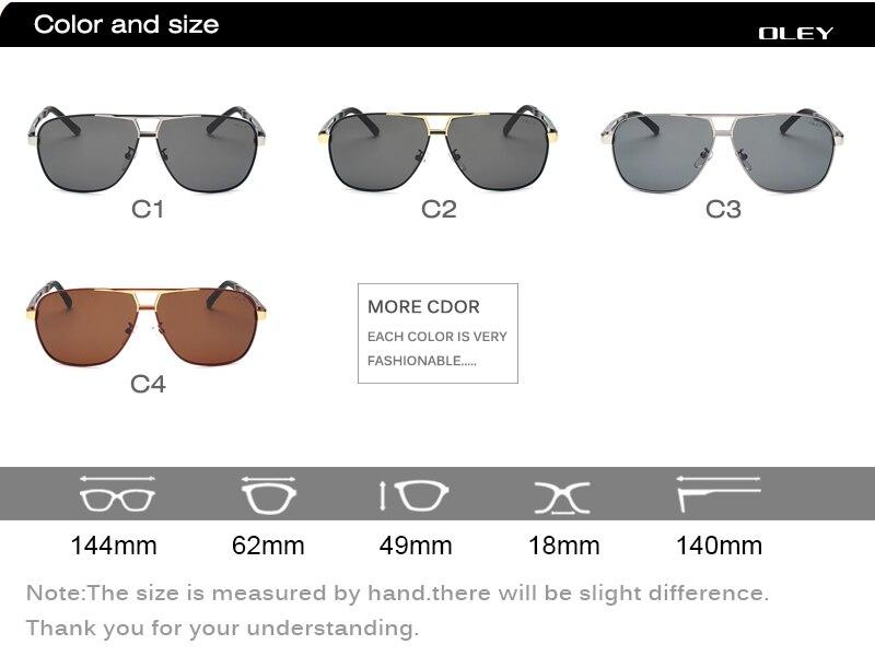 OLEY Classic Polarized Sunglasses for men Aluminum magnesium frame High-definition Polaroid lenses Driving anti-glare goggles