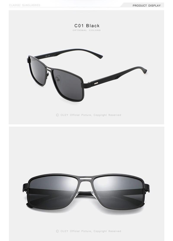 OLEY Brand 2020 Fashion Sunglasses Men Polarized Square Metal Frame outdoor Anti-glare uv400 Driving fishing goggles Y5924