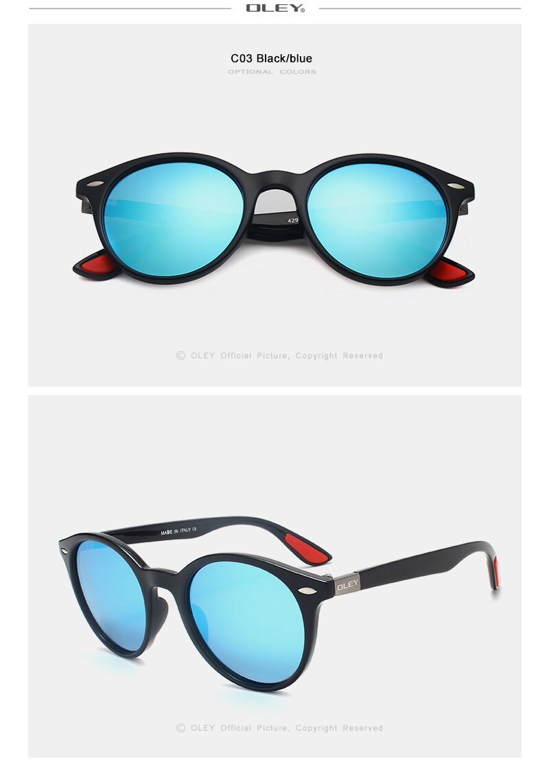 OLEY Brand Men Women Classic Retro Rivet Polarized Sunglasses Fashion circular design 100% UV400 Protection Accept custom logo