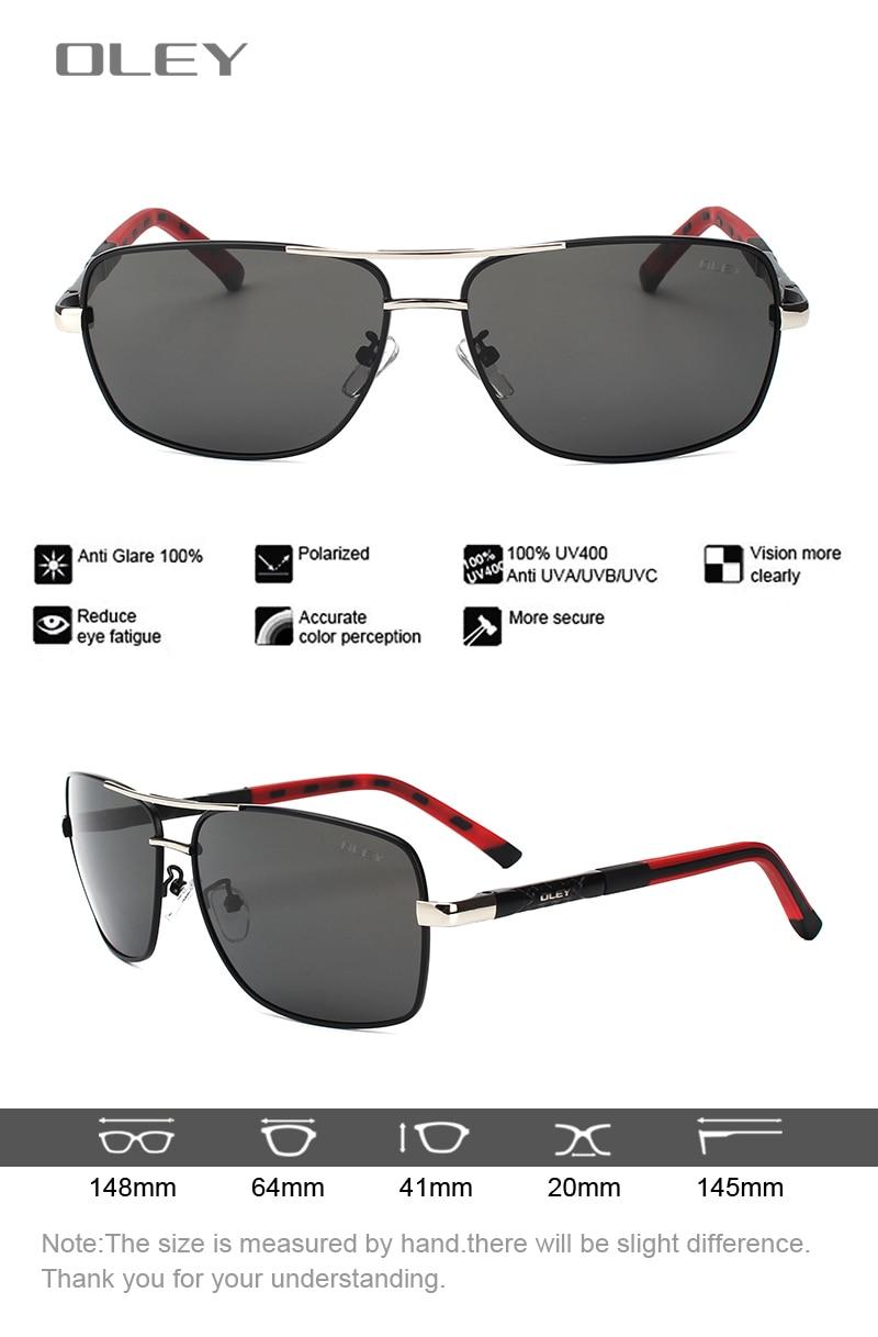 OLEY Brand Men's Polarized Sunglasses women Sun Glasses Driving Goggles Oculos Support logo customization Y8724