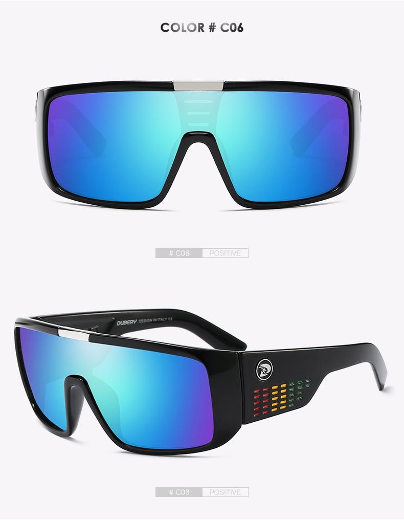 DUBERY Brand Design UV400 Sunglasses Men's Retro Male Goggle Colorful Sun Glasses For Men Fashion Mirror Shades Oversized Oculos