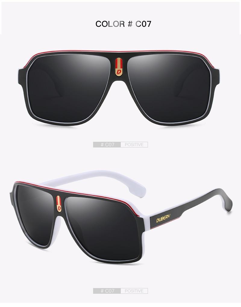 DUBERY Vintage Sunglasses Polarized Men's Sun Glasses For Men Square Driving Black Goggles Oculos Male 7 Colors Model 103