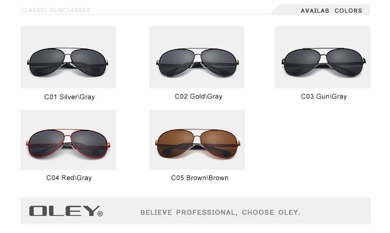 OLEY Brand Sunglasses Men Polarized Fashion Classic Pilot Sun Glasses Fishing Driving Goggles Shades For Men/Wome Y7005