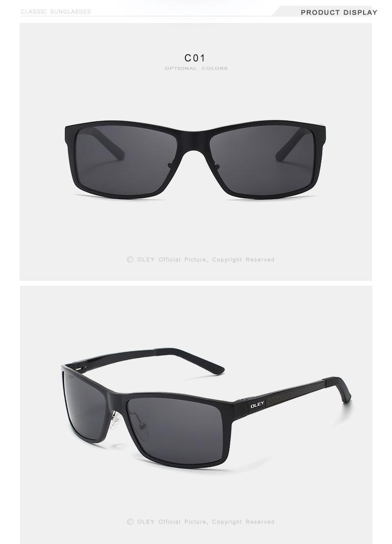 OLEY Brand Men's Vintage Square Sunglasses Polarized UV400 Lens Eyewear Accessories Male Sun Glasses For Men/Women Y7160