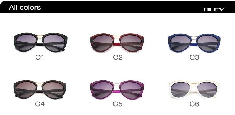 OLEY High Quality Cat Eye Sunglasses Women brand designer Polarized Sun Glasses for woman Driving goggles gafas zonnebril dames