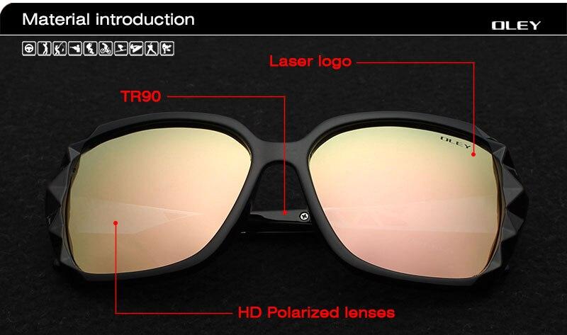 OLEY Oversized Sunglasses Women Luxury Brand Design Elegant polarized Glasses Female Prismatic spectacles Oculos De Sol mulher