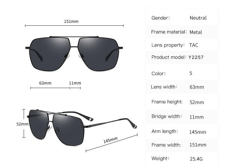 OLEY Brand Pilot Style Aluminum Sunglasses Polarized UV400 Mirror Male