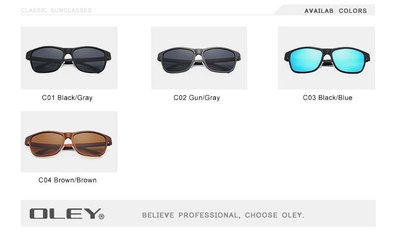 OLEY Brand Men's Polarized Sunglasses Business Classic High Quality Full Frame Aluminum Magnesium Glasses Women UV400 goggles