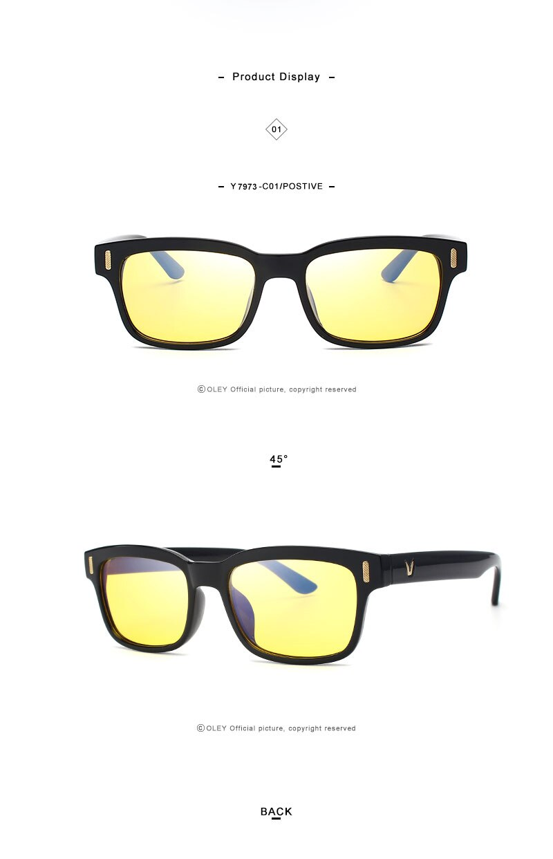 Optical Square Blu-ray Glasses PC Computer Radiation Protection