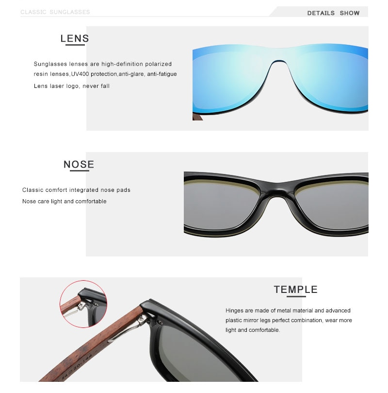 Natural Wooden Sunglasses  Polarized