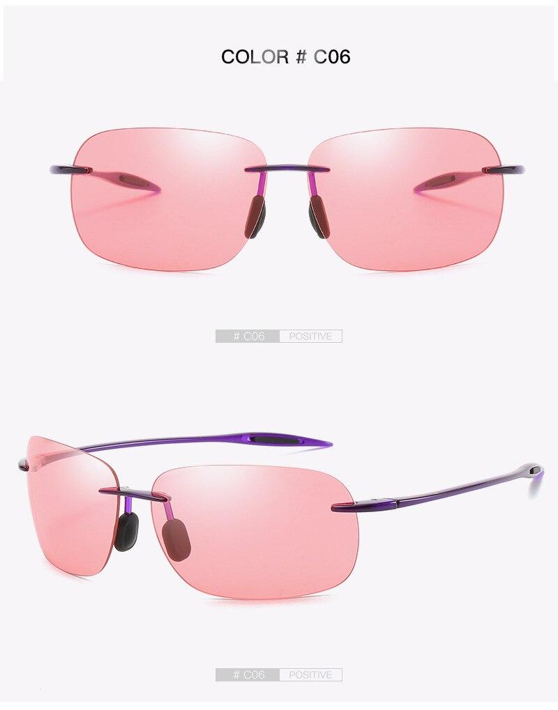 Men Rimless Sunglasses Driving Shades Outdoor Sport