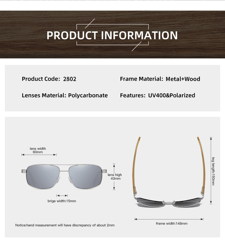 Handmade Bamboo Wooden Sunglasses Men